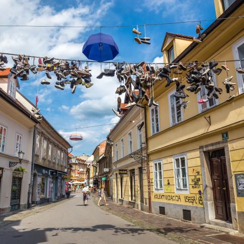 The hanging shoes, Ljubljana